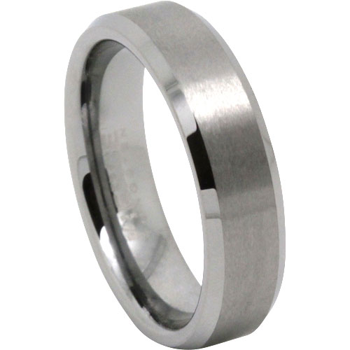 Brilliant Brushed Finish Mens Tungsten Wedding Ring