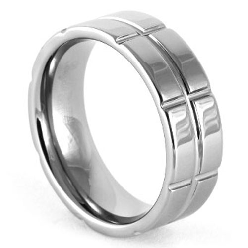Mens Grooved Tungsten Ring