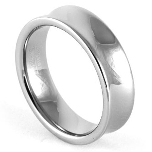 Concave Tungsten Mens Ring