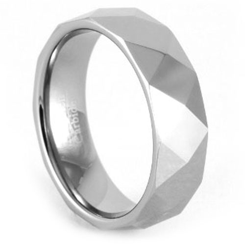 Men's Tungsten Faceted Ring
