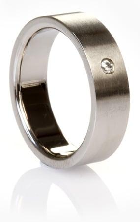 Brushed Titanium Ring with Simulated Diamond