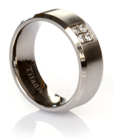Brushed Titanium Ring with Simulated Diamonds