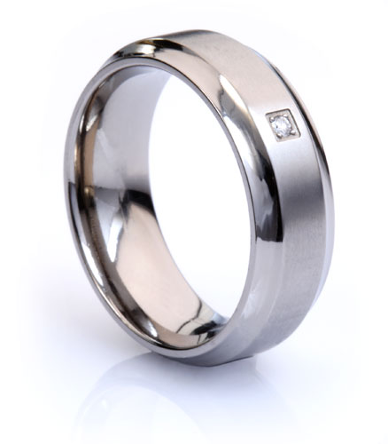 Natural Diamond Titanium Ring