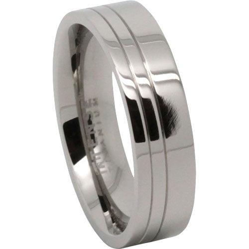 Grooved Titanium Mens Ring