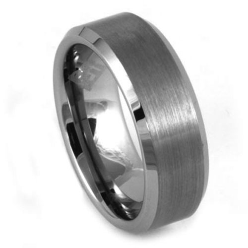 Brushed 8mm Mens Tungsten Ring