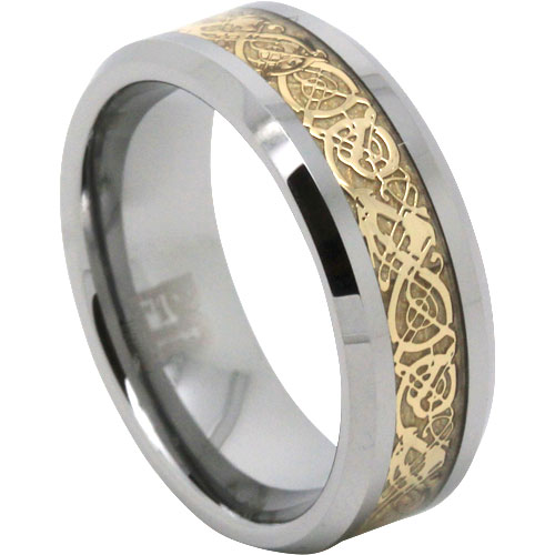 Gold Tungsten Mens Ring