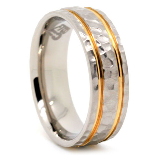 Hammered Gold And Titanium Wedding Band
