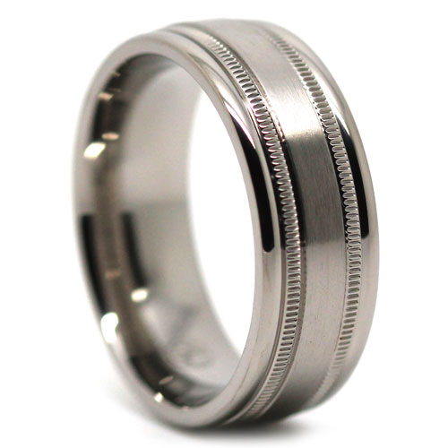 Titanium Milgrain Mens Wedding Ring