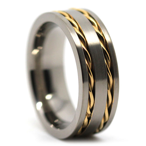 Wide Titanium Wedding Band with Gold Chain Inlay