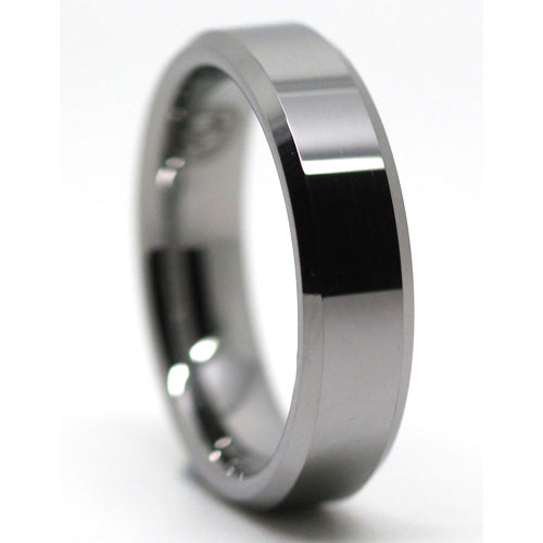 Polished Flat Tungsten Wedding Ring