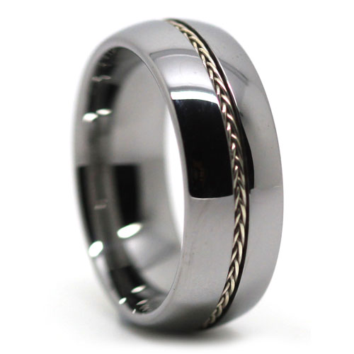 Wonderful Mens Wedding Tungsten Ring With Plated Rope Inlay