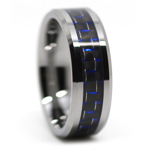 Carbon Fibre Tungsten Ring with Blue Highlights