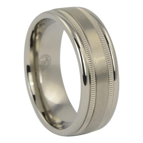 Titanium Milgrain Mens Wedding Ring
