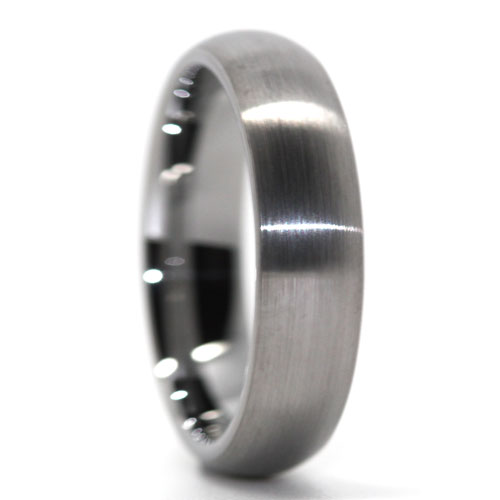 Plain Dome brushed Tungsten Ring