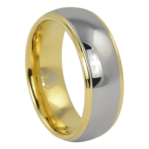 Polished Dome Mens Tungsten Gold Ring