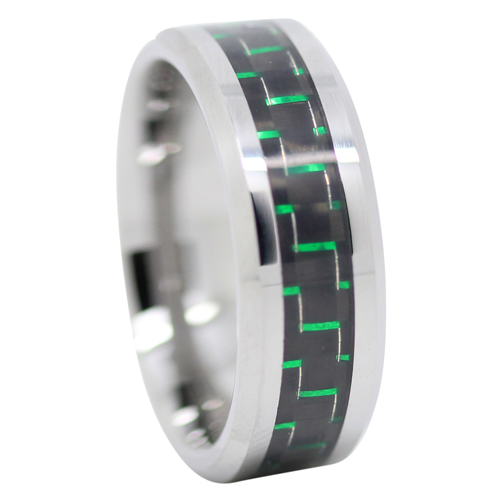 Green Carbon Fiber Mens Rings