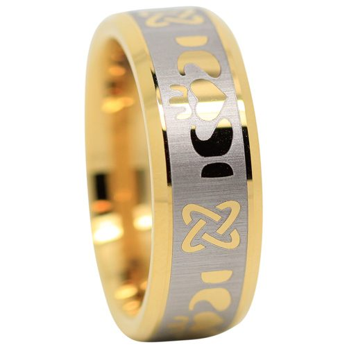 Gold Tungsten Claddagh Ring