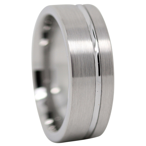 Men S Ring With Offset Groove