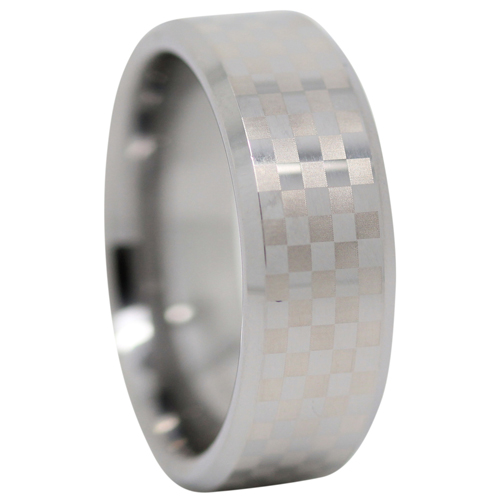 Checkered Tungsten Mens Ring