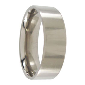 7mm Polished Titanium Mens Ring