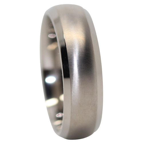 Satin Finish Titanium Mens Wedding Ring