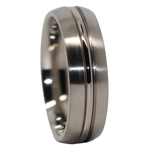 Satin Finish Titanium Wedding Ring With Polished Centerline