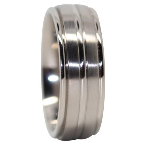 Satin Finish Titanium Mens Wedding Ring