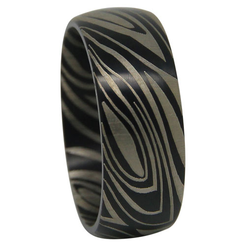 Wide Black Nebula Titanium Mens Ring