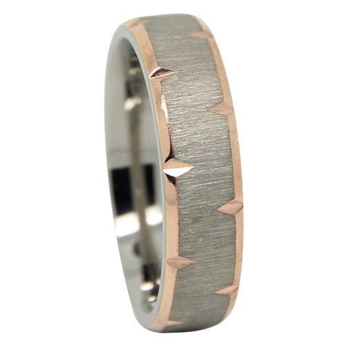 Gold Plated Knife Edge Titanium Wedding Ring