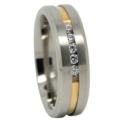 Mens Titanium Wedding Ring With Gold Centreline