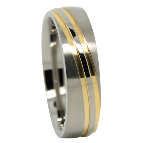 Gold Wave Design Mens Titanium Wedding Ring