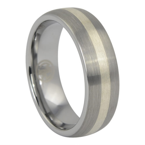 Tungsten Wedding Ring With Solid Silver Inlay