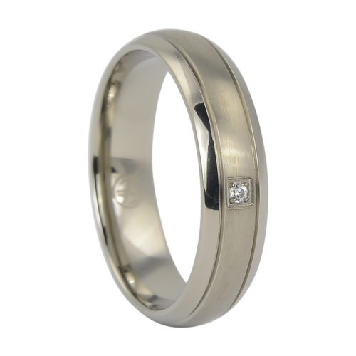 Titanium Mens Engagement Ring With Single Stone