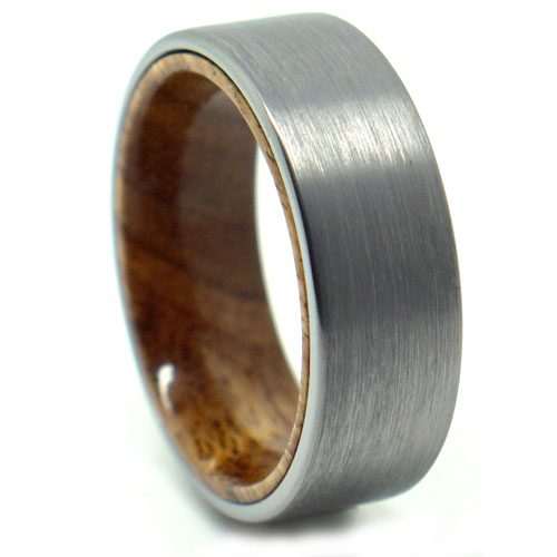 Mens Tungsten Wedding Ring With Koa Wood Accent