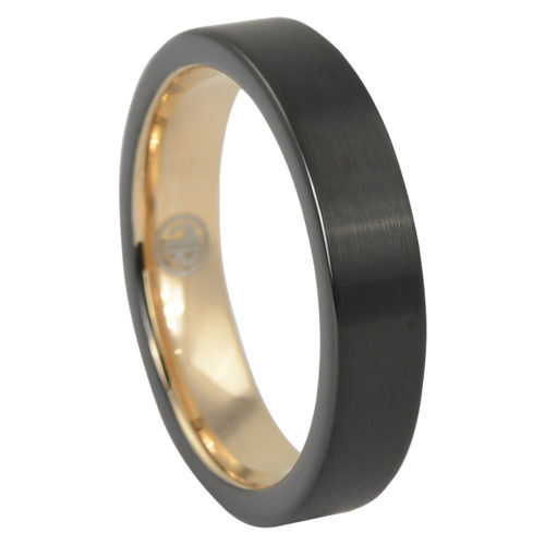 Two-Tone Brushed Black Gold Thin Tungsten Mens Ring