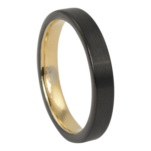 Brushed Mens Thin Black Gold Ring