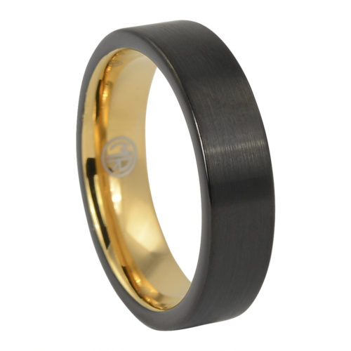 Brushed Mens Black Gold Ring