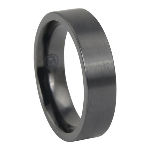 "Brushed ""Forever Black"" Titanium Mens Ring"