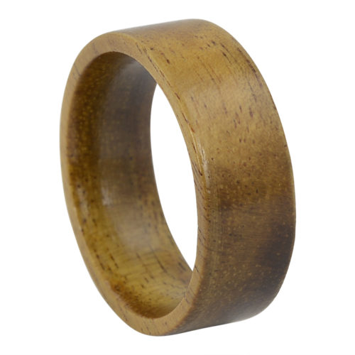 Koa Wood Flat Band Mens Ring