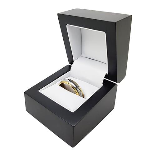 Wedding Ring Box.Premium Matte Black Wood Ring Box